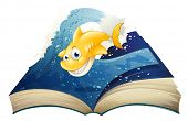 stock photo of storybook  - Illustration of an open storybook with a smiling shark on a white background - JPG