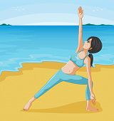 Illustration of girl doing her exercise at the seashore
