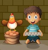Illsutration of a chicken laying eggs beside the young boy with an egg tray