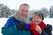 Smiling Senior Couple Outside In Wintry Landscape