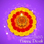 stock photo of diwali  - illustration of decorated Diwali diya on flower rangoli - JPG