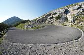 a hairpin bend on the mountain road to the Lovcen National Park, Montenegro
