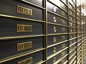 Rows of luxurious safe deposit boxes in a bank vault