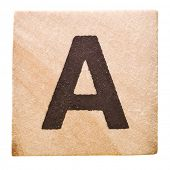 Block with Letter A isolated on white background