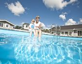 Mother and daughter at the Swimming pool area