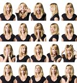 stock photo of comedy  - Twenty portrait of a woman with different expressions - JPG