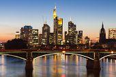 Skyscrapers Of Frankfurt At Twilight