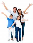 Happy family looking very excited with arms up - isolated over white background