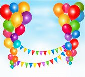 Birthday Balloons Frame Composition With Space For Your Text. Vector Illustration