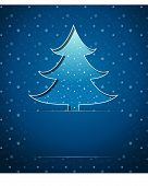 Christmas card with blue tree