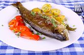 Grilled Rainbow Trout With Red Pepper, Potato And Herbs