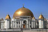 Mosque In Kipchak. Mausoleum, In Which The Former President Of Turkmenistan Niyazov Is Buried. Turkm