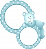 Baby boy round frame teddy bear