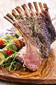 stock photo of deer meat  - grilled lamb rack - JPG
