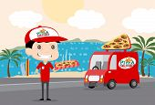stock photo of clip-art staff  - Pizza man and his Truck Vector file is eps 10 and uses transparency blends and gradient mesh - JPG