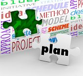 The word Plan on a puzzle piece fills in a hole in a wall full of words such as strategy, idea, init