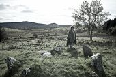 Tourist At A Stone Circle In County Donegal Ireland