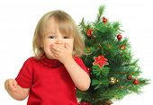 picture of girl toy  - cute little girl and christmas tree - JPG