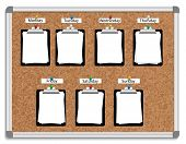 stock photo of tuesday  - Vector illustration of corkboard with pinned clipboards with white sheets of paper for each week day - JPG