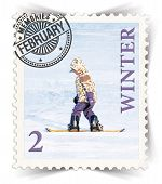 Label For Seasonal Products Ads Or Calendars Stylized As Post Stamp