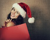 image of canvas  - cheerful christmas woman in santa - JPG