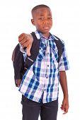 African American School Boy Making Thumbs Down - Black People