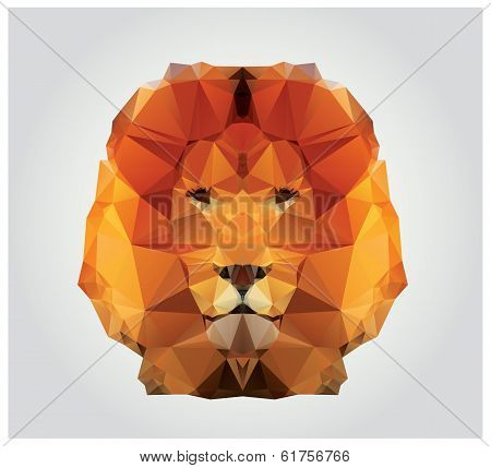 Geometric polygon lion head, triangle pattern, vector illustration poster
