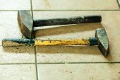 Two Old Sledge Hammers Hand Tools In Mechanic Garage Car Service