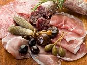 picture of salami  - italian appetizer with salami - JPG