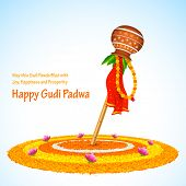 stock photo of rangoli  - illustration of Gudi Padwa  - JPG