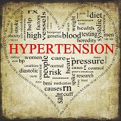 picture of hypertensive  - A Grunge textured black and red heart shaped word cloud concept around the word Hypertension including words such as reading control doctor rx and more - JPG