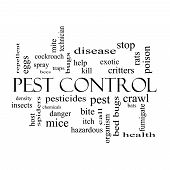 Pest Control Word Cloud Concept In Black And White