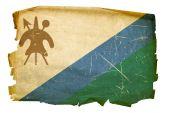 Lesotho Flag Old, Isolated On White Background