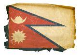 Nepal Flag Old, Isolated On White Background