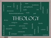 Theology Word Cloud Concept On A Blackboard