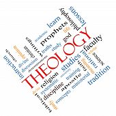 Theology Word Cloud Concept Angled