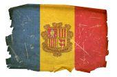 Andorra Flag Old, Isolated On White Background