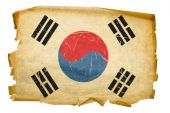 South Korea Flag Old, Isolated On White Background.