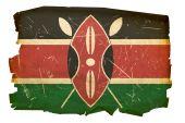 Kenya Flag Old, Isolated On White Background.