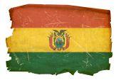 Bolivia Flag Old, Isolated On White Background.