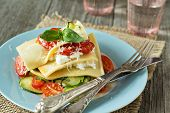 foto of lasagna  - No-bake vegetarian lasagna with tomatoes, zucchini, cream cheese and parmesan