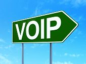 Web design concept: VOIP on road sign background