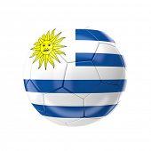 3d soccer ball with uruguay flag