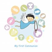 picture of crucifix  - My first communion card - JPG