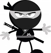 Angry Ninja Warrior Cartoon Character Flat Design In Gray Color