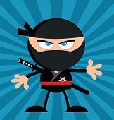 Angry Ninja Warrior Character Flat Design Over Blue Background