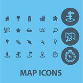 map, navigation, direction, way icons, signs set, vector