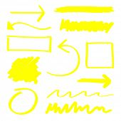 Yellow vector highlighter elements set