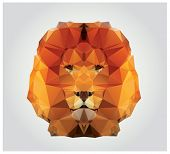 foto of geometric  - Geometric polygon lion head - JPG