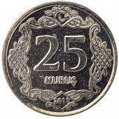 25 Turkish Kurus Coin, 2011, Back